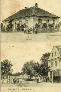 Předonín - počátek 20.st. - obecná škola (dnes Klub OÚ), náves